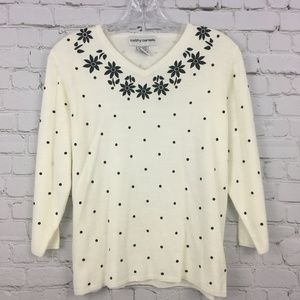 Cathy Daniels Sweater Cashmere Floral Polka Dot